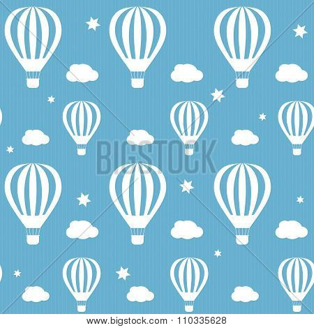 Vector seamless pattern whith white hot air balloons on the blue sky.