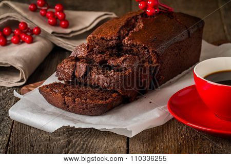 Chocolate-banana Loaf Cake On Paper