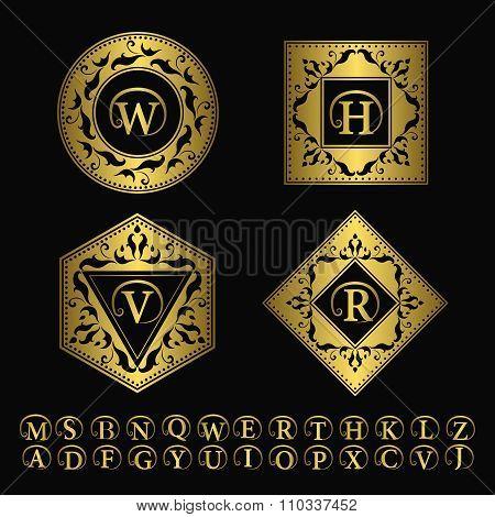 Monogram design elements, graceful template. Elegant line art logo design. Business gold emblem lett
