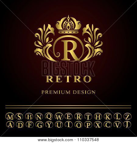 Monogram design elements, graceful template. Elegant line art logo design. Business gold emblem lett