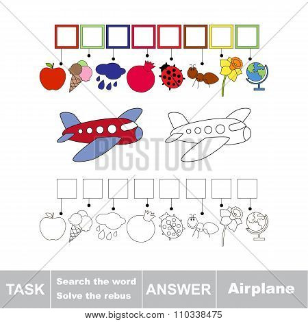 Vector game. Search the word. Find hidden word Airplane