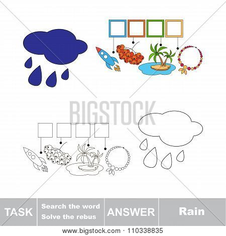 Vector game. Search the word. Find hidden word Rain