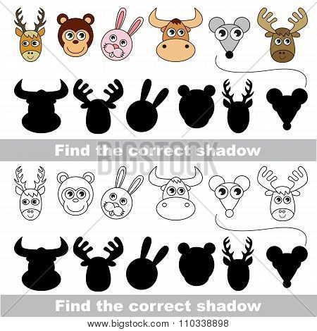 Animal collection. Find correct shadow.