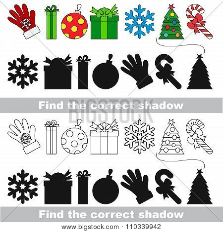 New year collection. Find correct shadow.