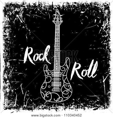 Vintage hand drawn poster with electric guitar and lettering rock and roll on grunge background. Ret