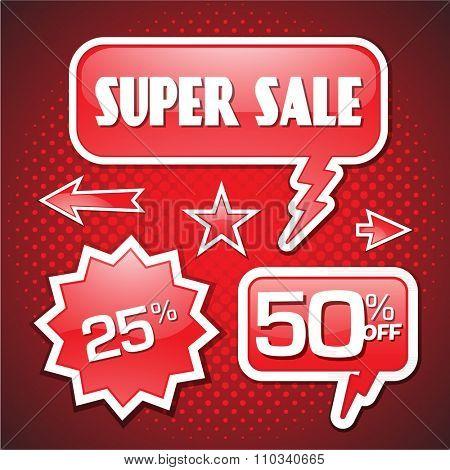 Super sale red tag vector speech bubble