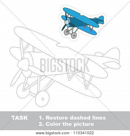 Biplane to be traced. Vector trace game.