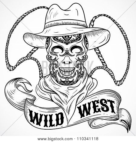 Wild west. Vintage poster with scull cowboy, lasso and ribbon banner .Retro hand drawn vector illust