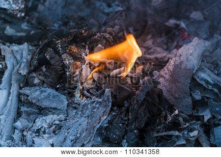Flame Of Garbage Fire In Steel Barrel