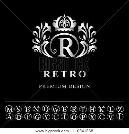 Monogram Design Elements, Graceful Template. Elegant Line Art Logo Design. Business Silver Emblem