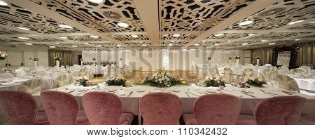 Elegant Table Set For Wedding Or Event Party,seamless Panorama Made With Tilt-shift Lens