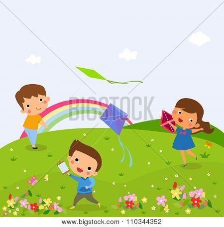 Illustration of Kids Flying Kites