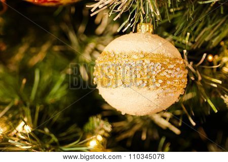 White Pearly Bauble on Christmas Tree