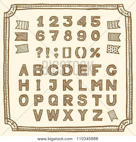 Latin alphabet, hand drawn pen ink
