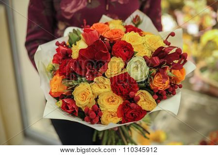 Colorfull Bouquet  With Roses. Flower Composition