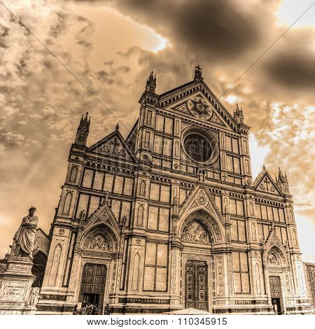 Santa Croce Cathedral And Dante Alighieri Statue In Sepia Tone