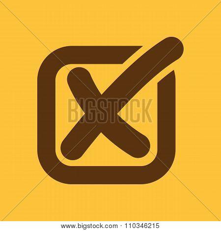 The check icon. Checkmark and checkbox, no, voting symbol. Flat
