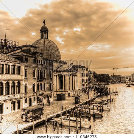 Venice Grand Canal With San Simeone Dome In Sepia Tone