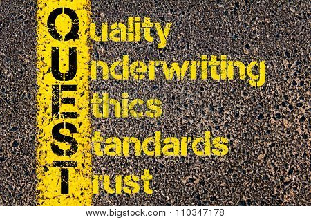 Accounting Business Acronym Quest Quality, Underwriting, Ethics, Standards, And Trust