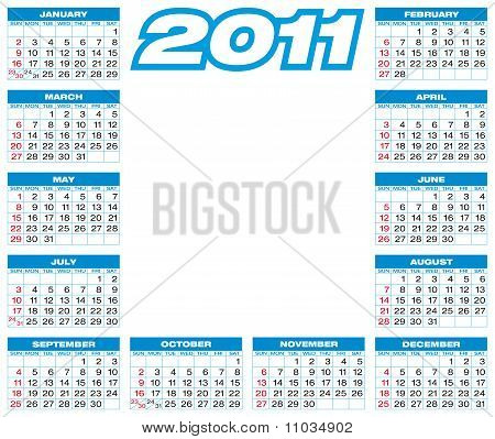 Blue Calendar 2011.