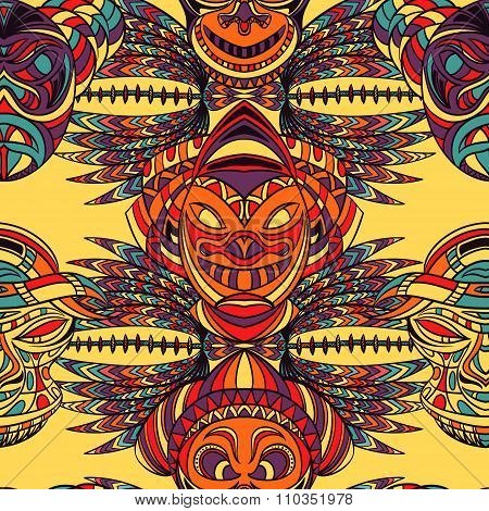 Seamless pattern with tribal mask and aztec geometric latin American ornament. Hand drawn vector ill