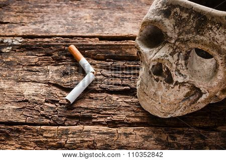 Broken Cigarette And Ashtray In The Form Of The Skull - Smoking Kills Concept