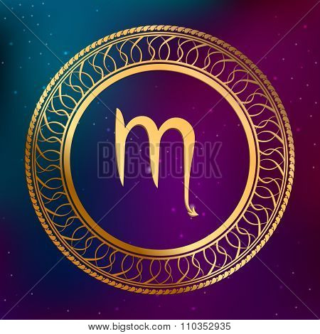 Abstract background astrology concept gold horoscope zodiac sign scorpion circle frame illustration