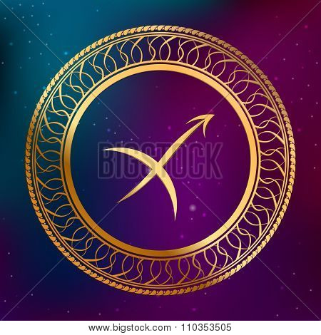 Abstract background astrology concept gold horoscope zodiac sign Sagittarius circle frame