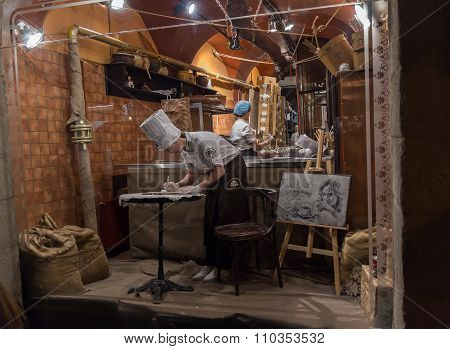Lviv, Ukraine - October 18, 2015: Confectioners Work For A Showcase Chocolate Workshop