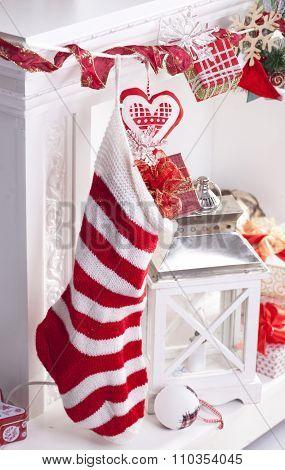 Christmas stocking knitted handmade