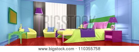 Modern hotel room with bright colorful interior design (3D Rendering)