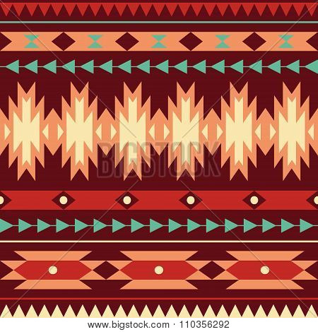 Vector seamless colorful decorative ethnic pattern. Aztec style