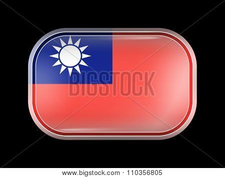 Flag Of Taiwan Republic Of China. Rectangular Shape With Rounded Corners