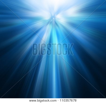 Snowflakes and stars shining descending on blue background. Christmas star, shining line, a flash of light