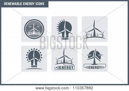 Vector Renewable Energy Icon Set