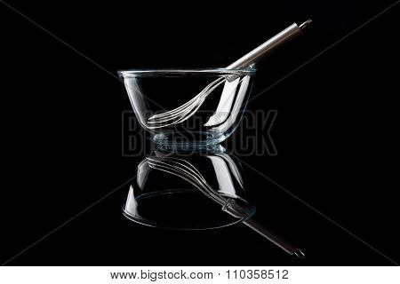 Glass bowl with whisker inside side view with reflection black