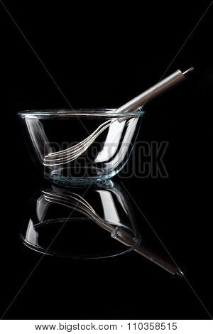 Glass bowl with whisker inside side view with reflection vertical