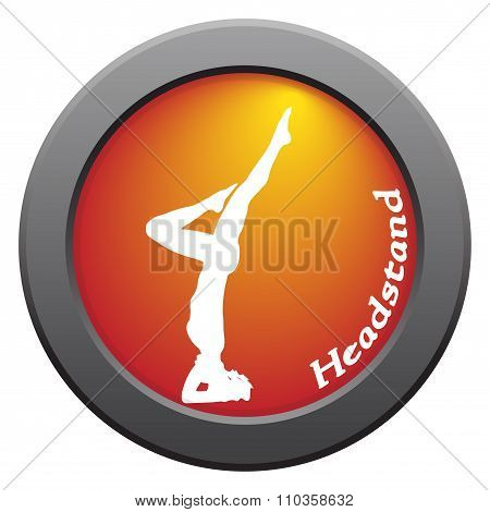 Yoga Headstand Pose Red Icon
