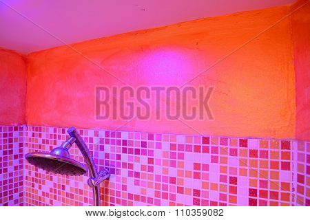 Shower Head In A Pink Bathroom