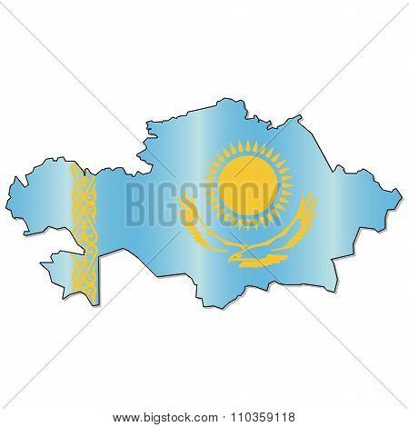 Kazakh flag map