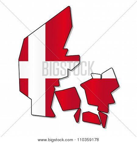Danish flag map