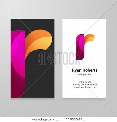 Modern Letter R Twisted Business Card Template