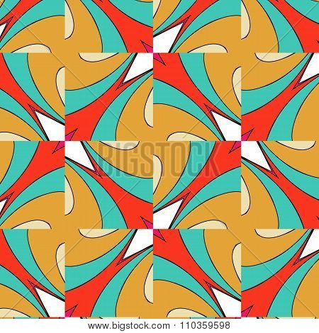 Bright Pattern In Style Of The Fifties Red, Orange And Neon
