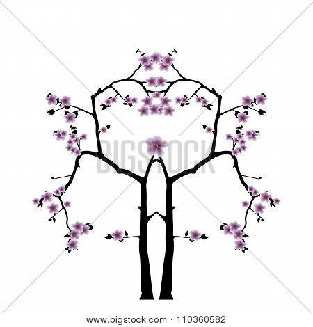Pink Cherry Blossom Sakura Flowers  In Japanese Style