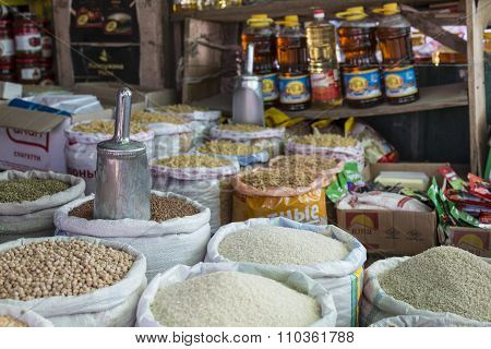 Spices And Vegetables In Bags At Local Bazaar In Osh. Kyrgyzstan.