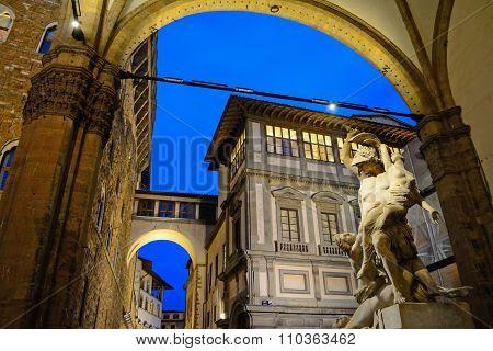 Ratto Di Polissena Statue In Florence By Night