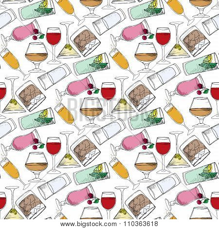 Illustration Of Alcoholic And Non-alcoholic Beverages. Drinks At The Bar. Seamless Pattern.