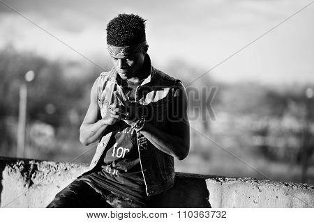 Black Afroamerican Man Gangsta Rap Singer