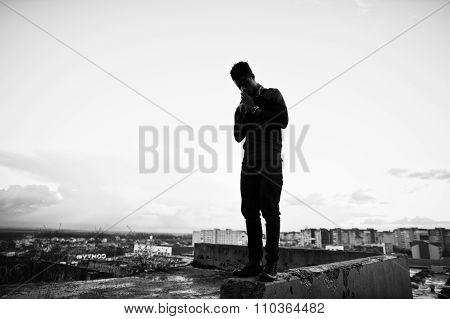 Portrait Of  Style Black Man On The Roof
