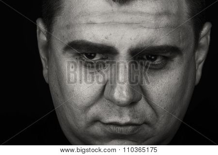 The actor plays the role of a priest. Portrait of the actor, emotional game.
